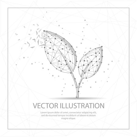 Leaves digitally drawn in the form of broken a part triangle shape and scattered dots low poly wire frame.