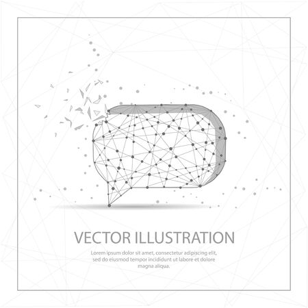 Speech bubble digitally drawn in the form of broken a part triangle shape and scattered dots low poly wire frame. Illustration