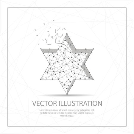 The Star of David digitally drawn in the form of broken a part triangle shape and scattered dots low poly wire frame.