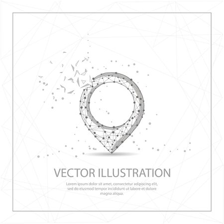 Map pin digitally drawn in the form of broken a part triangle shape and scattered dots low poly wire frame. Illustration