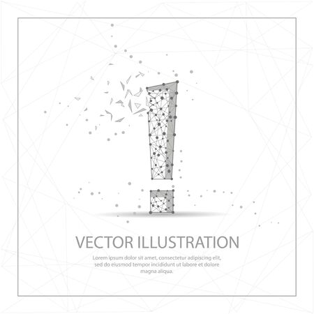Exclamation mark digitally drawn in the form of broken a part triangle shape and scattered dots low poly wire frame. Illustration
