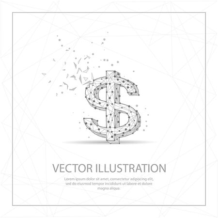 Symbol dollar currency digitally drawn in the form of broken a part triangle shape and scattered dots low poly wire frame.