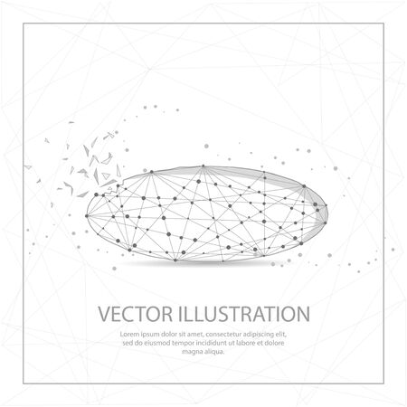 Ellipse shape digitally drawn in the form of broken a part triangle shape and scattered dots low poly wire frame.