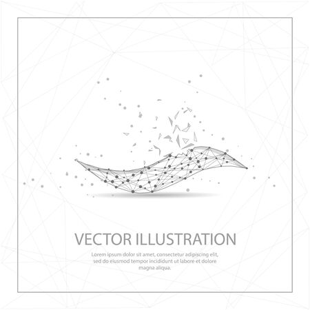 Wave digitally drawn in the form of broken a part triangle shape and scattered dots low poly wire frame.