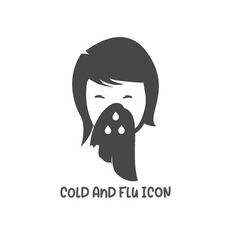 Cold and flu icon simple silhouette flat style vector illustration on white background. Illustration