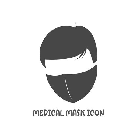 Medical mask icon simple silhouette flat style vector illustration on white background. Illustration