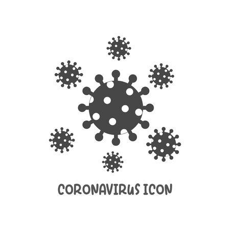 Coronavirus icon simple silhouette flat style vector illustration on white background.