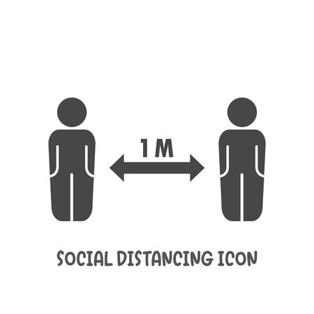 Social distancing 1 meter icon simple silhouette flat style vector illustration on white background.