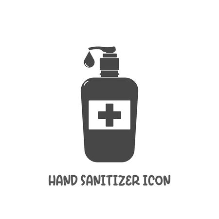 Hand sanitizer icon simple silhouette flat style vector illustration on white background. Illustration