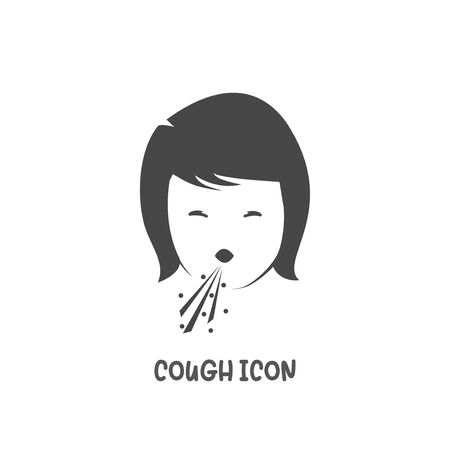 Cough icon simple silhouette flat style vector illustration on white background. Illustration