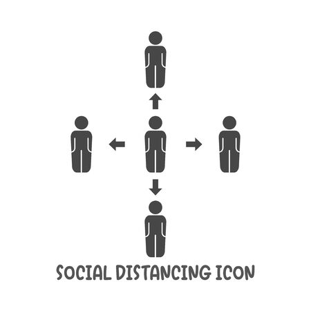 Social distancing icon simple silhouette flat style vector illustration on white background.