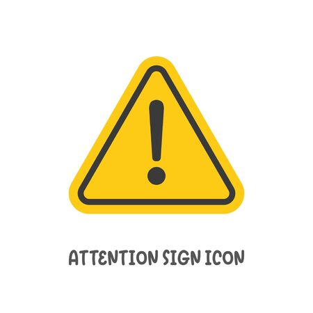 Attention sign icon simple silhouette flat style vector illustration on white background.  イラスト・ベクター素材