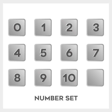 Set of black number in gradient gray square shape.