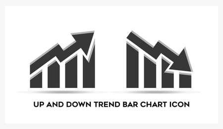 Up and down trend bar chart business analytic on white background. Illusztráció