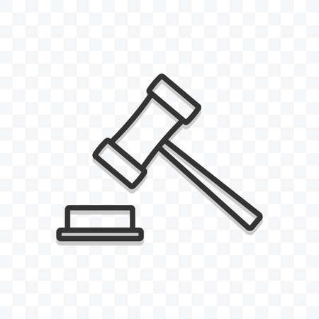 Judge gavel icon vector illustration isolated sign symbol - black and white style in transparent background.