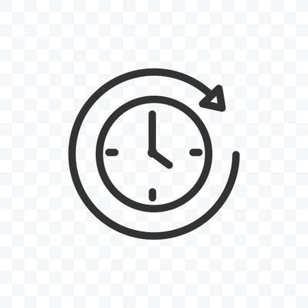 Outline clock or timer icon vector illustration isolated sign symbol - black and white style in transparent background.