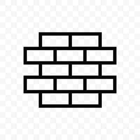 Brick icon vector illustration isolated sign symbol - black and white style in transparent background.