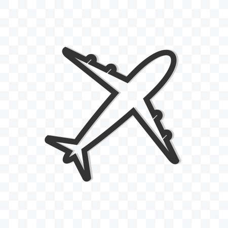 Airplane icon vector illustration isolated sign symbol - black and white style in transparent background.