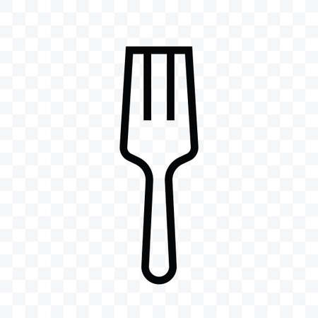 Fork icon vector illustration isolated sign symbol - black and white style in transparent background. Ilustração