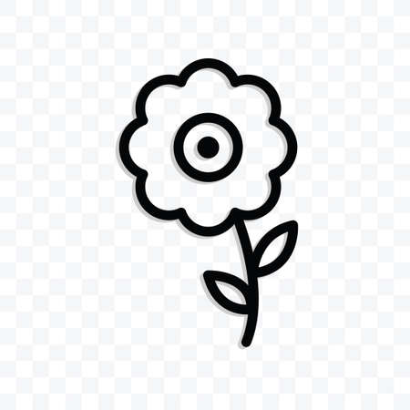 Flower icon vector illustration isolated sign symbol - black and white style in transparent background.