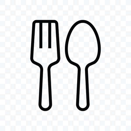 Spoon and fork food icon vector illustration isolated sign symbol - black and white style in transparent background.