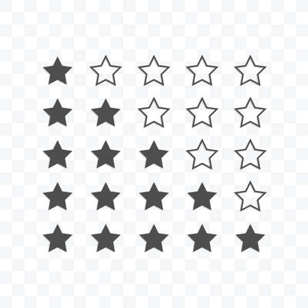 Rating stars icon vector illustration isolated sign symbol - black and white style in transparent background. Ilustração