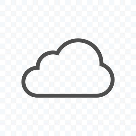 Cloud data icon vector illustration isolated sign symbol - black and white style in transparent background.