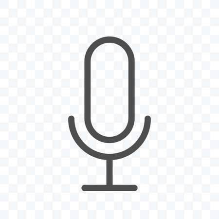 Microphone icon vector illustration isolated sign symbol - black and white style in transparent background.