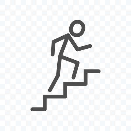 Man climbing up the stairs icon vector illustration isolated sign symbol - black and white style in transparent background.