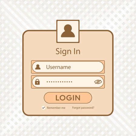 Simple light brown form login user interface vector website design. Ilustração