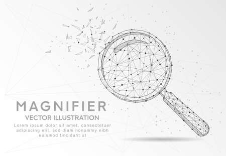 Magnifying or search sign digitally drawn in the form of broken a part triangle shape and scattered dots low poly wire frame. Ilustração