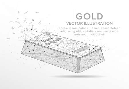 Fine gold bar digitally drawn in the form of broken a part triangle shape and scattered dots low poly wire frame. Ilustração