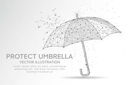 Protect umbrella digitally drawn in the form of broken a part triangle shape and scattered dots low poly wire frame.