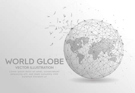 World globe digitally drawn in the form of broken a part triangle shape and scattered dots low poly wire frame. Ilustração