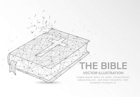 The Bible digitally drawn in the form of broken a part triangle shape and scattered dots low poly wire frame.
