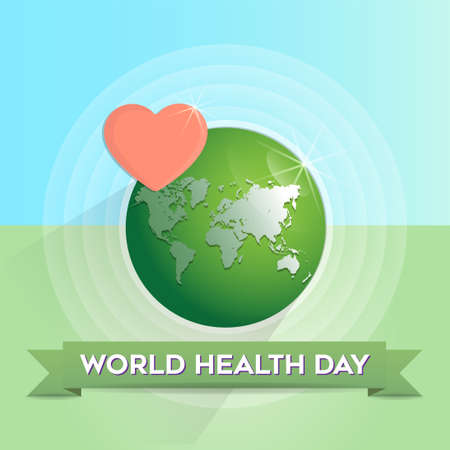 World health day design concept with globe and red heart vector illustration.