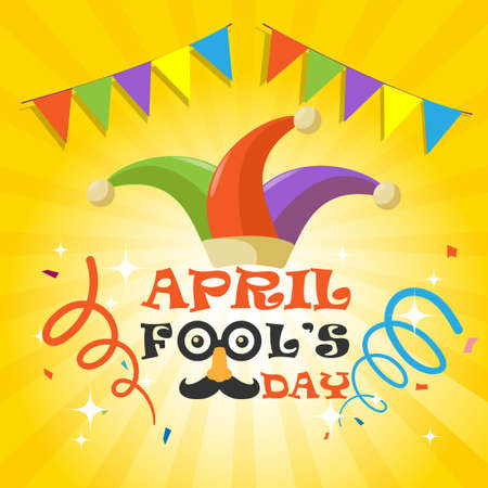 April Fools Day with funny glasses, nose mustache and clown hat on yellow gradient background.