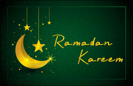 Gold islamic ramadan kareem design background with crescent moon and hanging stars vector illustration.