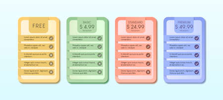 Colorful of pricing table with four options vector illustration on light blue background.