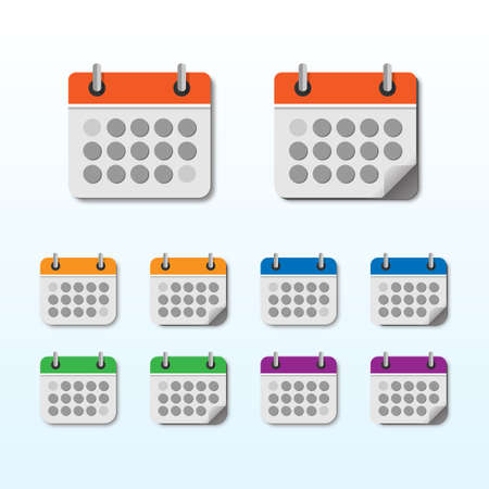 Calendar icon set with different color vector illustration on light blue background. Ilustração