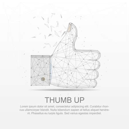 Thumb up mesh line digitally drawn low poly wire frame in black and white vector illustration. Ilustração