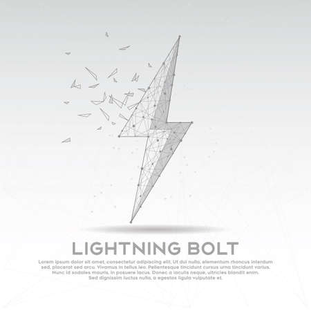 Lightning bolt mesh line digitally drawn low poly wire frame in black and white.
