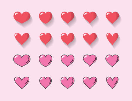 Set of red heart and pink heart with different shape shadow and outline in light red background.