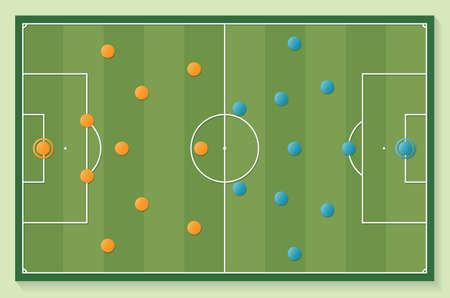 Soccer Football field in green color with formation team vector illustration. Ilustração
