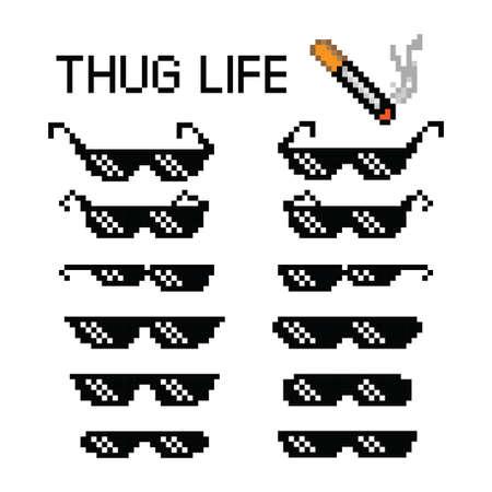 Thug life glasses 8 bit pixel vector illustration on white background. Ilustração