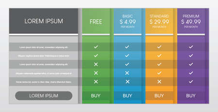 Colorful of pricing table with four options vector illustration on gray background.