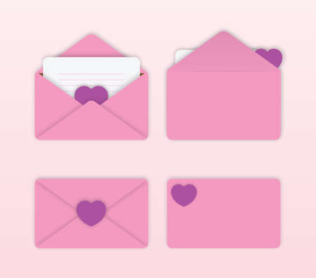 Set of lovely pink envelope with heart on light pink background.