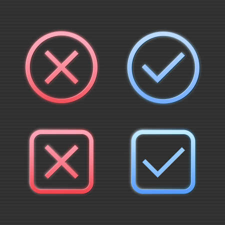 Set of red cross mark and blue check mark icon in round and square shape on black background.