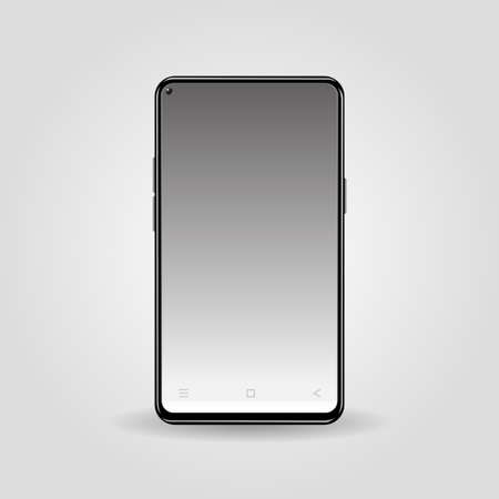 Realistic black color smart phone isolated on gray gradient background.