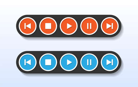 Red and blue media player control button in circle shape vector illustration.